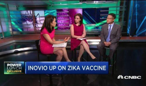 CNBC's Melissa Lee and Meg Tirrell with Inovio CEO Joseph Kim.