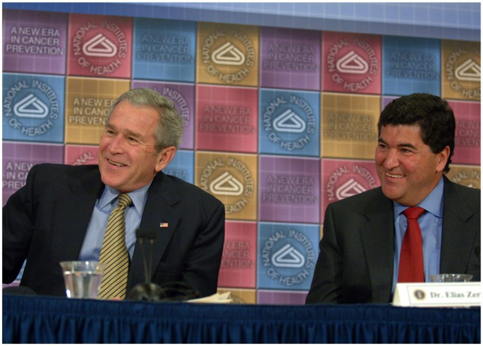 (Feb 7, 2007: President George W. Bush and NIH Director Dr. Elias Zerhouni enjoy an exchange. Courtesy NIH)
