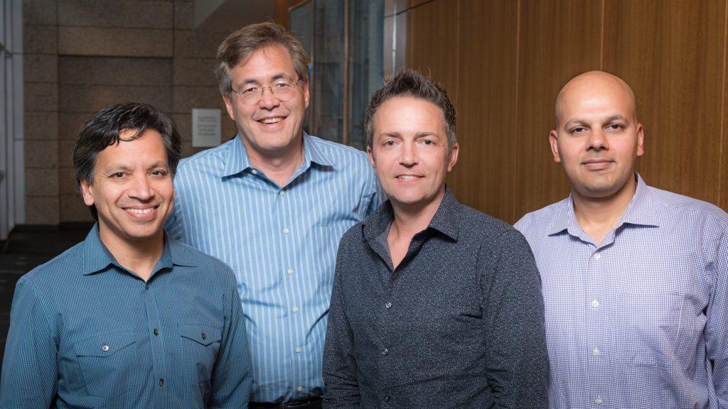 Tenaya scientific co-founders (L-R) Deepak Srivastava, Bruce Conklin, Benoit Bruneau, and Saptarsi Haldar [Credit: Chris Goodfellow]